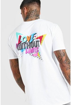 Mens White Pride Loose Fit T-Shirt With Back Print