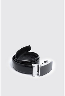 Mens Black Smooth Covered Buckle Faux Leather Belt