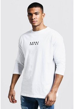 Mens White MAN Dash 3/4 Sleeve T-Shirt