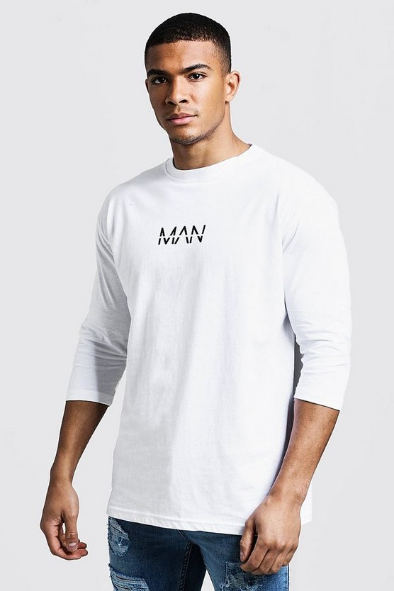 MAN T-shirt manches 3/4 tiret, Blanc, Homme