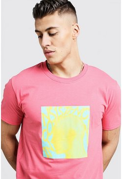 Mens Coral Loose Fit T-Shirt With Bright Graphic