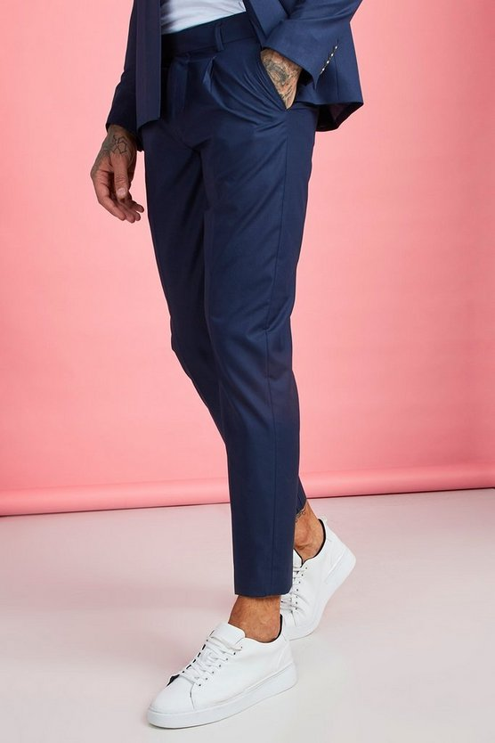 Mens Navy Pleat Front Plain Smart Trouser