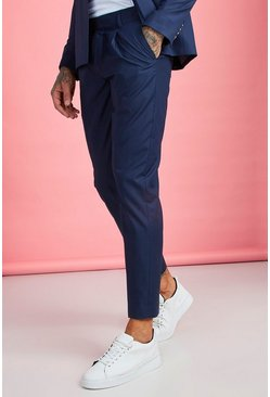 Mens Navy Pleat Front Plain Smart Pants