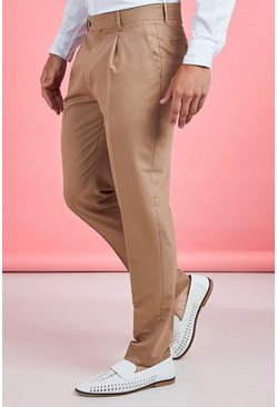 Taupe Pleat Front Plain Smart Trouser