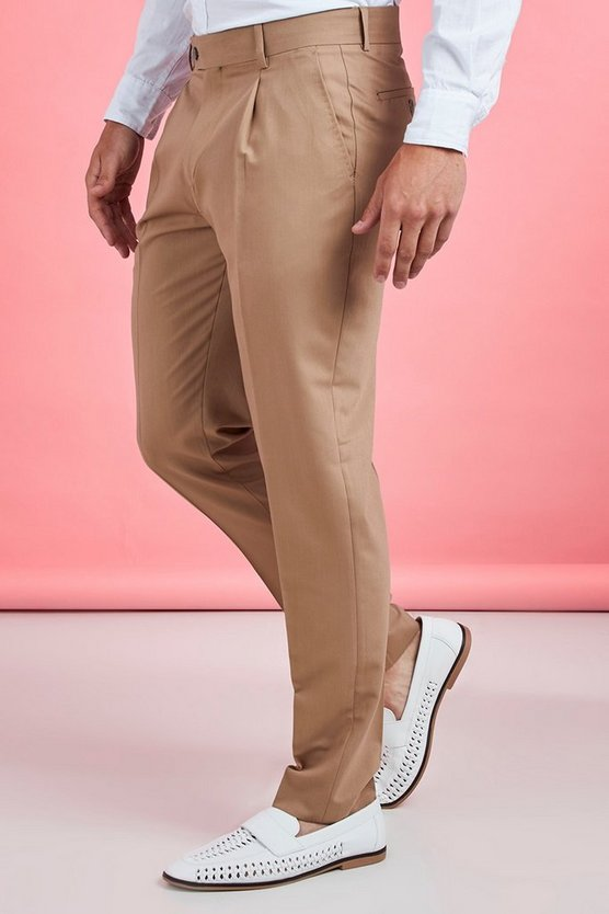 Mens Taupe Pleat Front Plain Smart Trouser