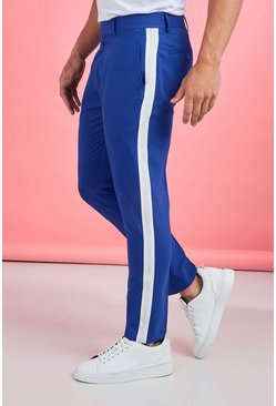 Mens Cobalt Tape Detail Smart Cropped Skinny Pants