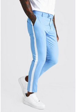 Mens Pale blue Tape Detail Smart Cropped Skinny Trouser