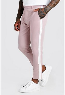 Mens Pink Tape Detail Smart Cropped Skinny Trouser