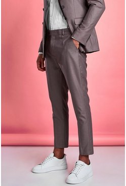 Mens Taupe Plain Skinny Fit Suit Trouser
