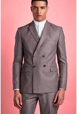 Mens Taupe Plain Double Breasted Horn Button Jacket