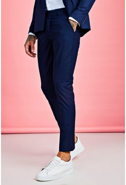 Mens Navy Plain Skinny Fit Suit Pants