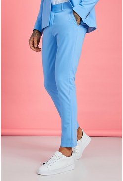 Mens Light blue Plain Skinny Fit Suit Pants