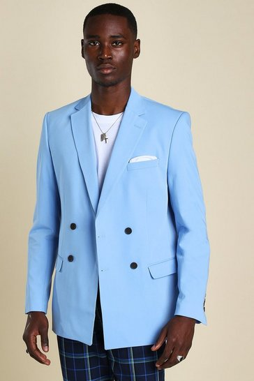 Light blue Skinny Double Breasted Horn Button Jacket