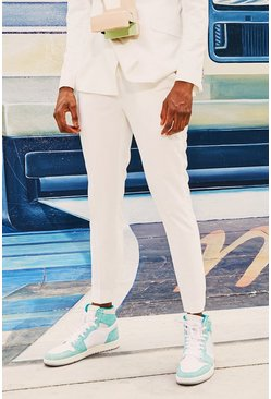 Mens White Plain Cropped Skinny Suit Trouser