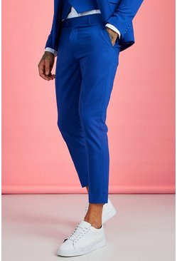 Mens Cobalt Skinny Fit Plain Cropped Trouser