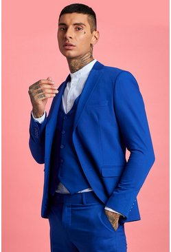Mens Cobalt Skinny Fit Plain Suit Jacket
