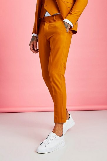 Mustard Skinny Fit Plain Cropped Trouser