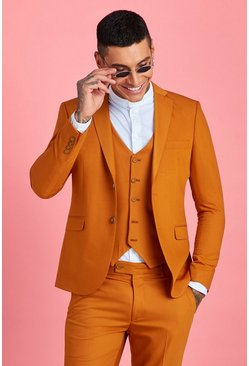 Mens Mustard Skinny Fit Plain Suit Jacket