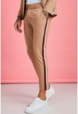 Mens Taupe Skinny Fit Tape Detail Suit Trouser