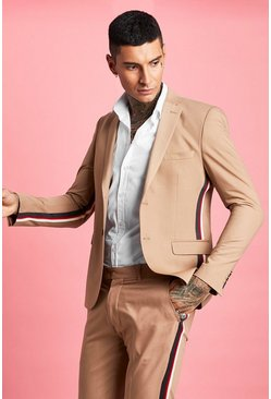 Herr Taupe Skinny Fit Tape Detail Suit Jacket