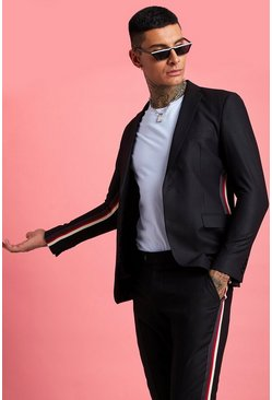 Black Skinny Fit Tape Detail Suit Jacket