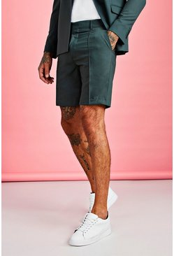 Green Plain Smart Pintuck Tailored Short