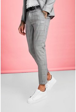 Mens Brown Smart Check Skinny Fit Suit Pants