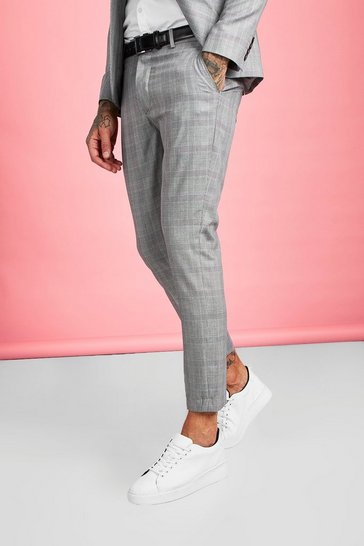 Mens Brown Smart Check Skinny Fit Suit Trouser