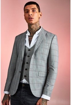 Mens Brown Smart Check Skinny Fit Suit Jacket