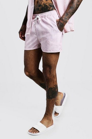 Mens Pale pink Snake Print Short Length Swim Short