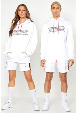 White Pride Loose Fit Hoodie With Front & Back Print