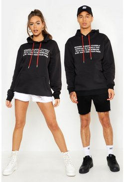 Mens Black Pride Loose Fit Hoodie With Front & Back Print