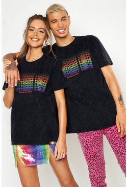 Mens Black Pride T-Shirt With Gradient Rainbow Print