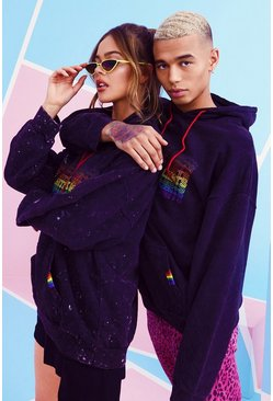 Herr Black Pride Hoodie With Gradient Rainbow Print