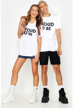 T-shirt coupe ample imprimé Proud To Be dans le dos Pride, Blanc, Homme