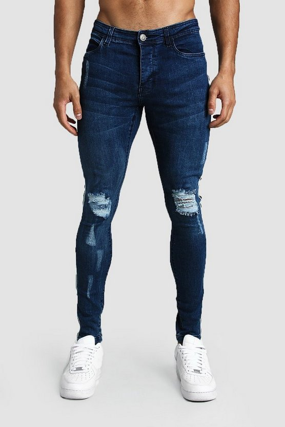 Dark blue SKinny Fit Distressed Jeans With Side Tape