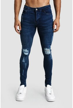 Mens Dark blue SKinny Fit Distressed Jeans With Side Tape