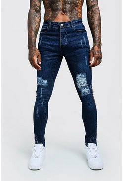 Herr Dark blue Super Skinny Distressed Jeans With Side Tape