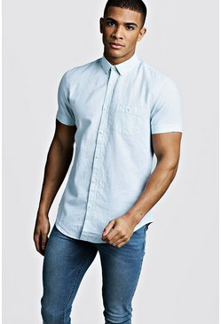 Mens Mint Linen Cotton Blend Short Sleeve Shirt