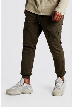 Mens Khaki Cuffed Cargo Pants With Drawstring Waist