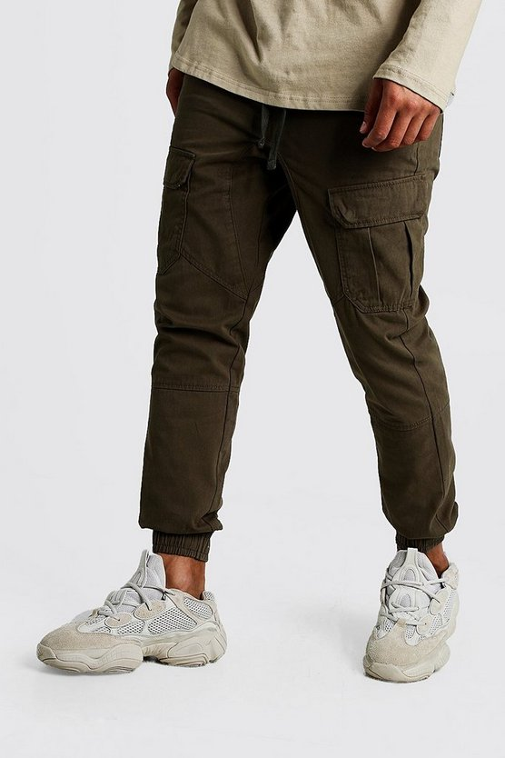 Mens Khaki Cuffed Cargo Trousers With Drawstring Waist