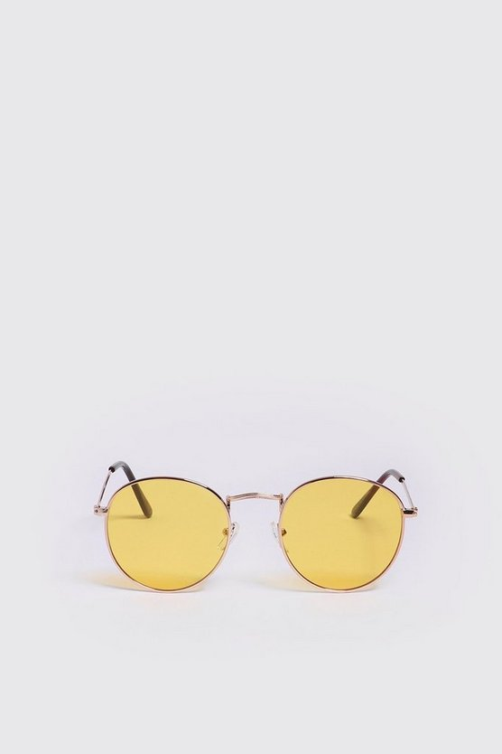 Mens Yellow Mirror Lens Round Sunglasses