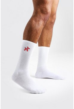 Mens White Balloon Dog Embroidered Socks
