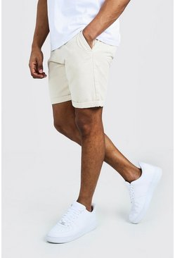 Stone Skinny Fit Chino Short In Mid Length