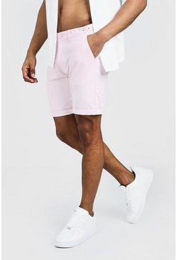 Pink Skinny Fit Chino Short In Mid Length