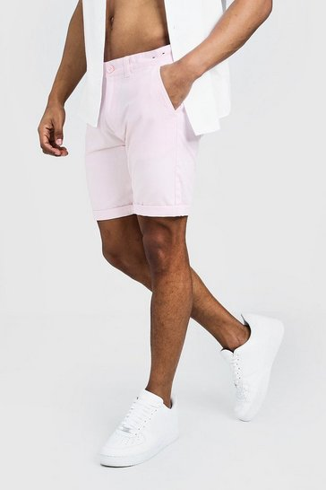 Mens Pink Skinny Fit Chino Short In Mid Length