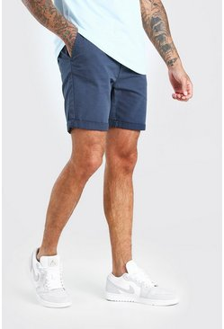 Mittellange Skinny-Fit Chino-Shorts, Marineblau, Herren