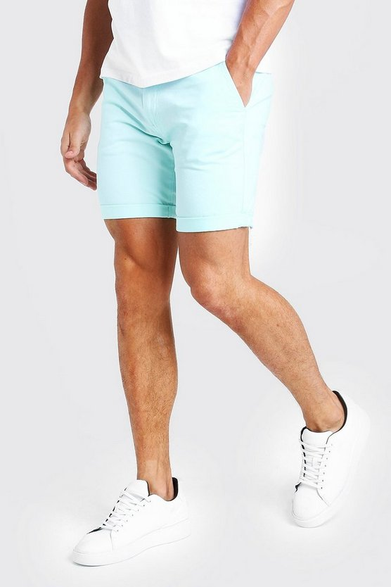 Mens Mint Skinny Fit Chino Short In Mid Length