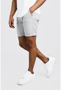 Grey Mellanlånga chinoshorts i skinny fit