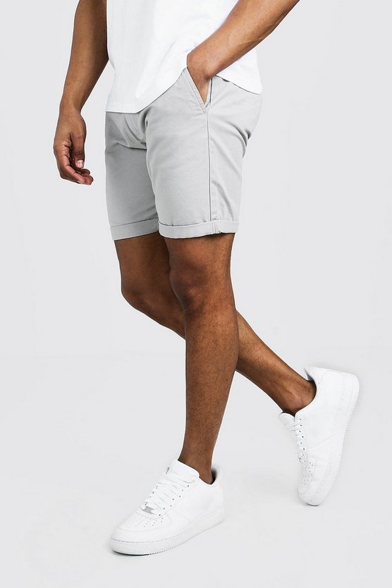 Mens Grey Skinny Fit Chino Short In Mid Length